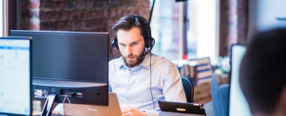 man using branded conference call
